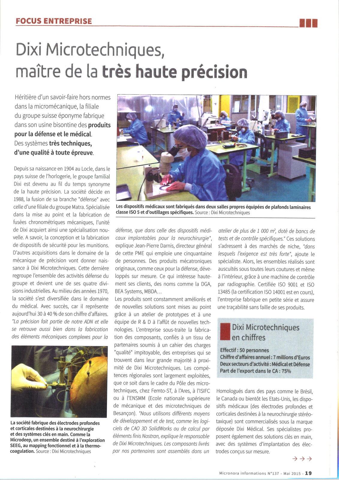 Micronora informations mai 2015